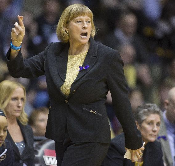 Purdue coach Sharon Versyp calls a play for her team during an NCAA college basketball game against Nebraska on Sunday, March 2, 2014, at Mackey Arena in West Lafayette, Ind. Purdue won 82-66. (AP Photo/Journal & Courier, Michael Heinz)