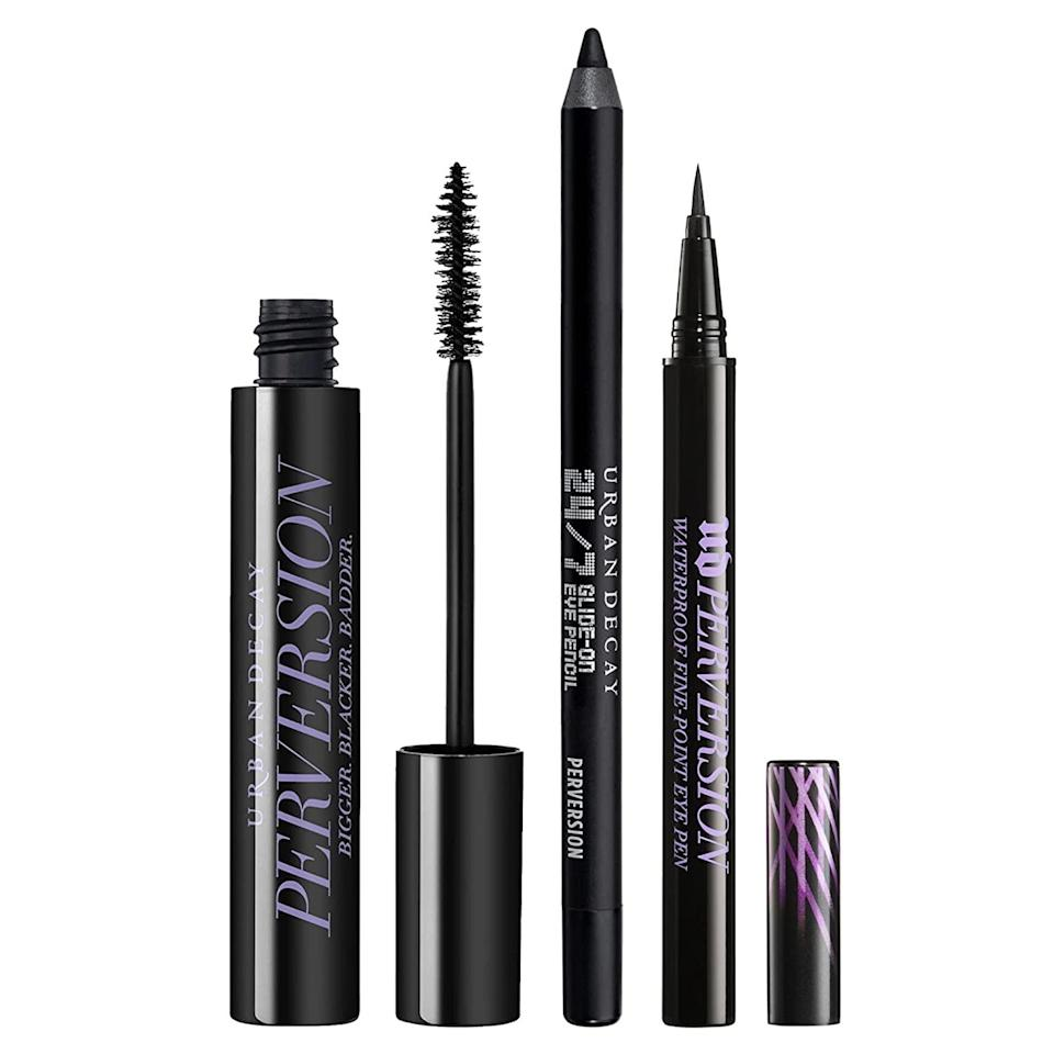 <p>Level up your eye looks with the <span>Urban Decay Eye Essentials Makeup Set</span> ($31, originally $52). It includes the bestselling Perversion Volumizing Mascara, Perversion Waterproof Liquid Eyeliner, and the 24/7 Glide-On Waterproof Eyeliner Pencil. You'll be able to create the most mesmerizing and striking looks with this set. </p>