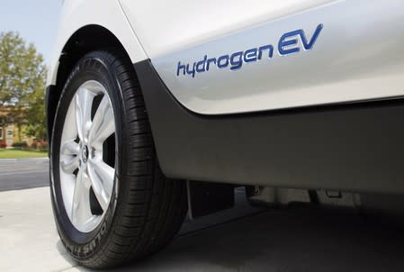 Hyundai Tucson hydrogen fuel cell electric vehicle in Newport Beach, California