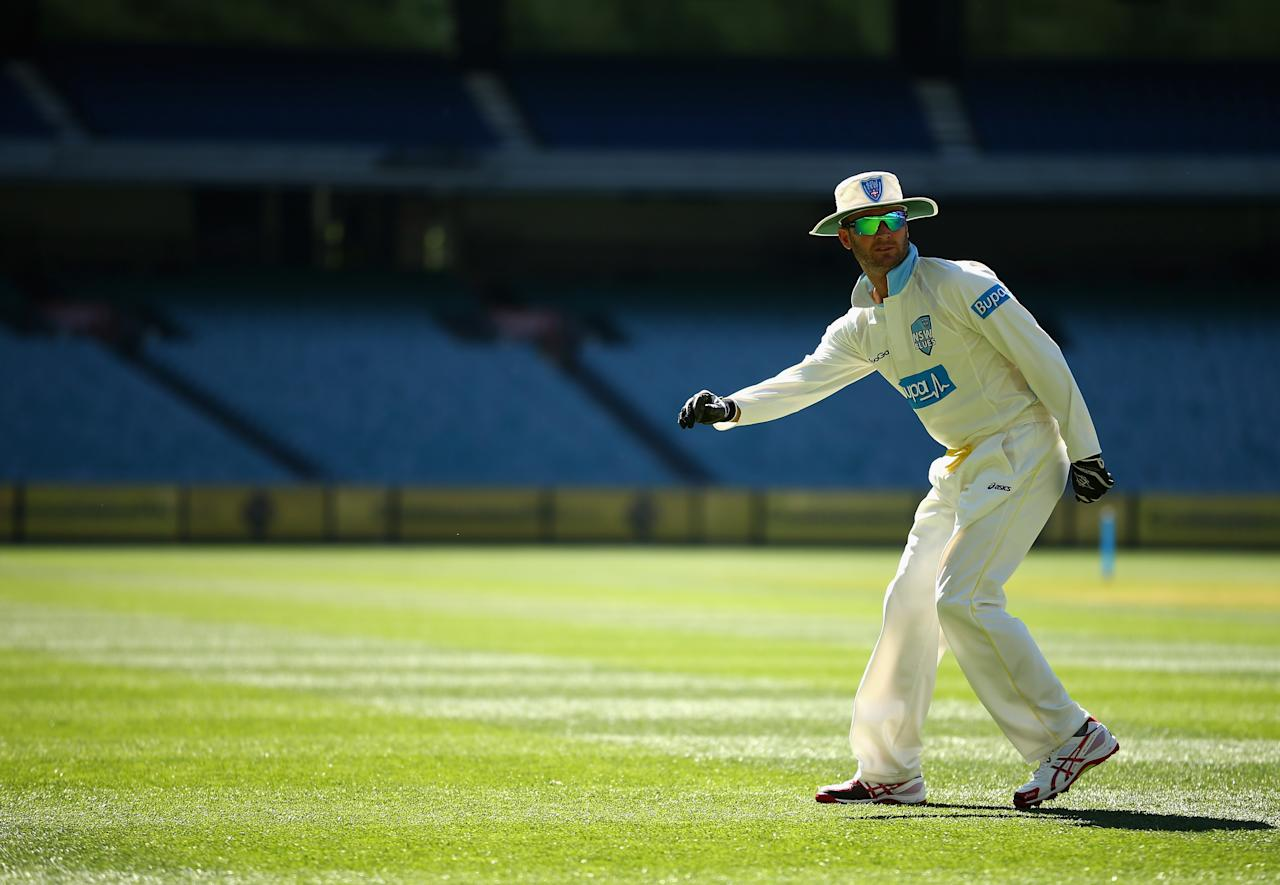 MELBOURNE, AUSTRALIA - NOVEMBER 06:  Michael Clarke of the Blues is seen prior to the Sheffield Shield match between the Victorian Bushrangers and the New South Wales Blues at the Melbourne Cricket Ground on November 6, 2013 in Melbourne, Australia.  (Photo by Robert Cianflone/Getty Images)