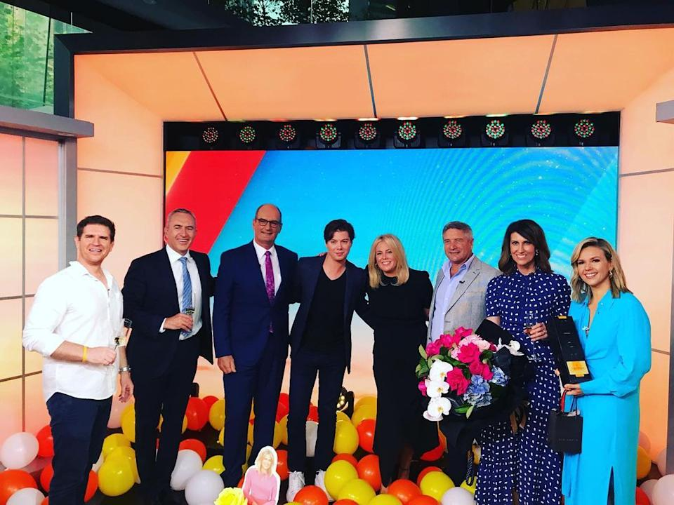 Sam Armytage with her Sunrise colleagues during her last day on March 11