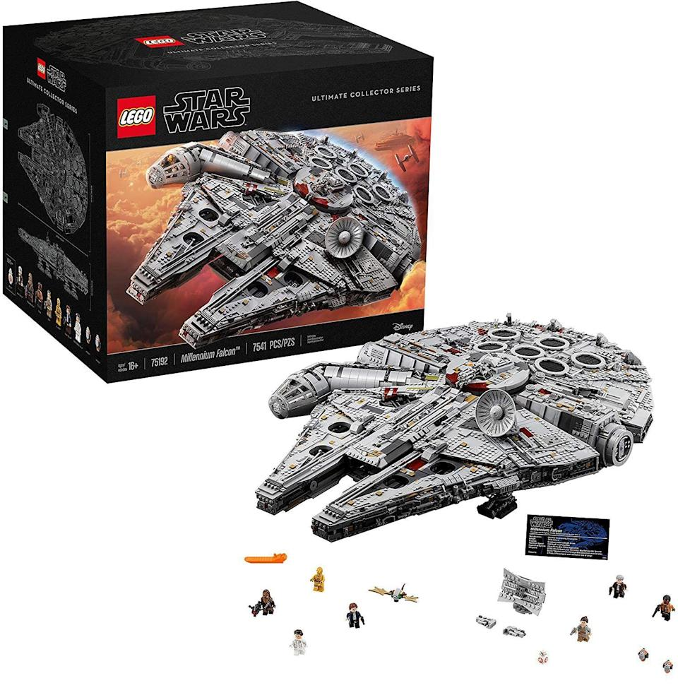 """<p><strong>LEGO Star Wars</strong></p><p>amazon.com</p><p><strong>$978.27</strong></p><p><a href=""""https://www.amazon.com/dp/B075SDMMMV?tag=syn-yahoo-20&ascsubtag=%5Bartid%7C10054.g.34039580%5Bsrc%7Cyahoo-us"""" rel=""""nofollow noopener"""" target=""""_blank"""" data-ylk=""""slk:Buy"""" class=""""link rapid-noclick-resp"""">Buy</a></p><p>Lego wouldn't exist without <em>Star Wars</em>, and <em>Star Wars </em>wouldn't exist without Lego. The relationship is symbiotic. And this monstrous set is peak Lego <em>Star Wars</em>: more than seven thousand pieces of Millennium Falcon and crew, for an outrageously collectible price. (Get a <a href=""""https://www.amazon.com/LEGO-Star-Wars-Millennium-Minifigures/dp/B07QQ396NH"""" rel=""""nofollow noopener"""" target=""""_blank"""" data-ylk=""""slk:less-realistic, more Lego-y Millenium Falcon set"""" class=""""link rapid-noclick-resp"""">less-realistic, more Lego-y Millenium Falcon set</a> for a fraction of the price.)</p>"""