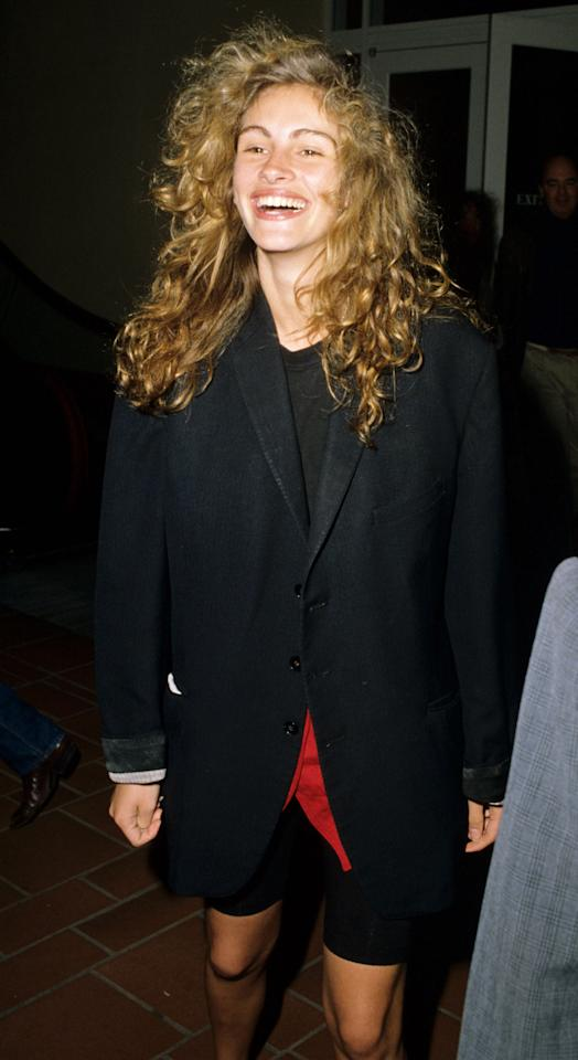 <p>Roberts with voluminous, blond curls in 1989.</p>