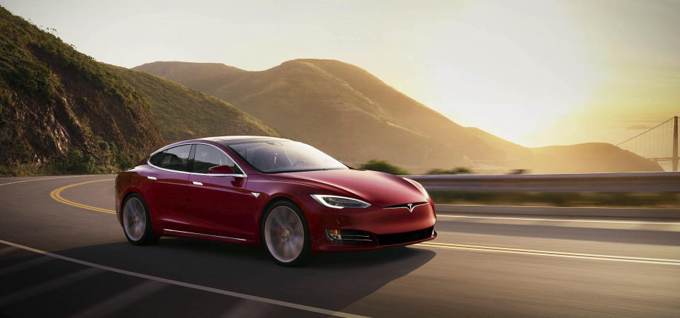 This photo provided by Tesla shows the 2021 Tesla Model S, a premium electric sedan with an estimated range of 412 miles. (Courtesy of Tesla via AP)