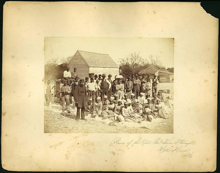 Enslaved people owned by the rebel General Thomas F. Drayton at his Hilton Head Island Plantation. Drayton owned Fish Haul Plantation, located near present day Port Royal Plantation and the Fish Haul beach access point.