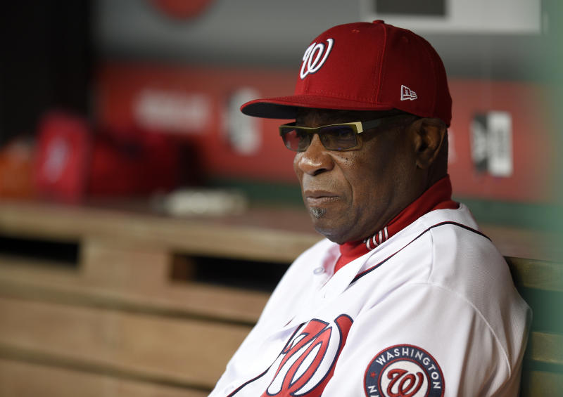 Washington Nationals manager Dusty Baker looks on before an interleague baseball game against the Baltimore Orioles, Wednesday, May 10, 2017, in Washington. (AP Photo/Nick Wass)
