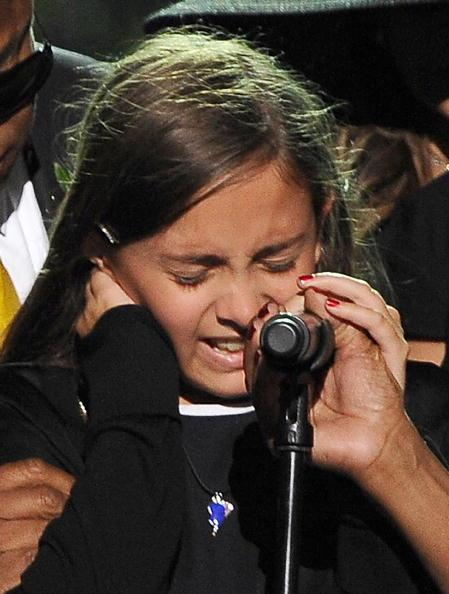 File photo shows Paris Jackson in tears as she speaks at the memorial service for her father at the Staples Center in Los Angeles on July 7, 2009. AFP