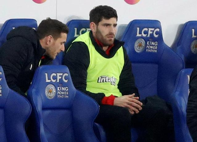 Soccer Football - FA Cup Fifth Round - Leicester City vs Sheffield United - King Power Stadium, Leicester, Britain - February 16, 2018 Sheffield United's Ched Evans sat on the bench during the match Action Images via Reuters/Carl Recine