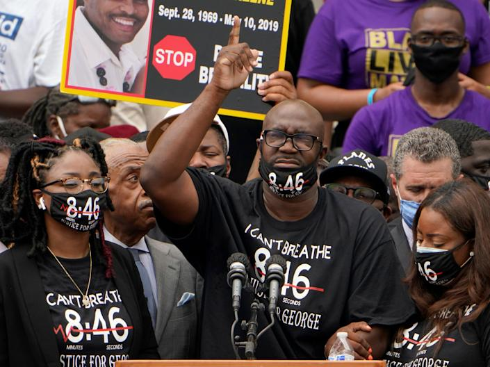 <p>Philonise Floyd, brother of George Floyd, speaks during the March on Washington at the Lincoln Memorial on 28 August 2020 in Washington, DC</p> ((Getty Images))