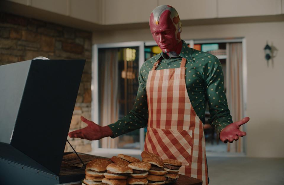 """Paul Bettany as Vision in Disney+'s Marvel series, """"WandaVision."""""""