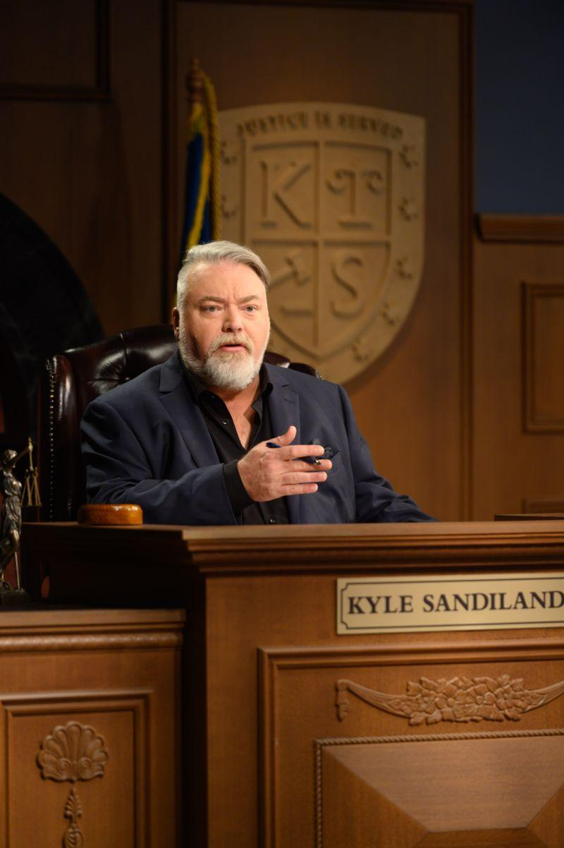 A photo of Kyle Sandilands on set of Trial by Kyle.