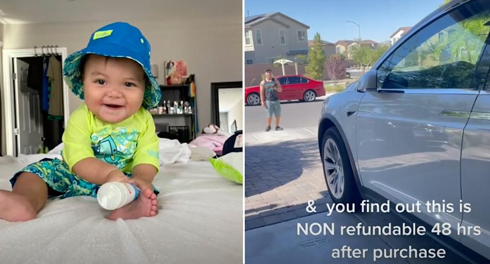 The Tesla vehicle driving itself (right) and the 10-month-old baby (left) who made it do so.