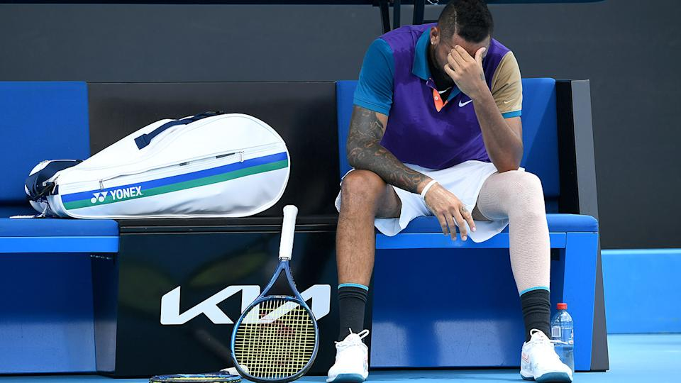 Nick Kyrgios, pictured here visibly frustrated throughout the match.