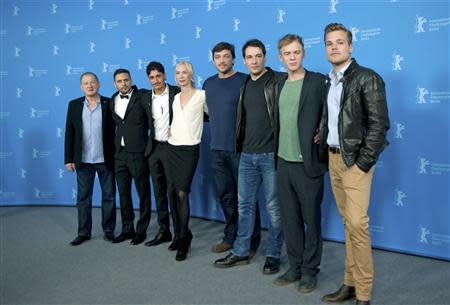 "Cast members Burghart Klaussner, Roman-Timothy Rien, Mohsin Ahmady, Austrian director, producer and screenwriter Feo Aladag, Ronald Zehrfeld, Felix Kramer, Pit Bukowski and Tobias Schoenenberg (L-R) pose during a photocall to promote the movie ""Zwischen Welten"" (Inbetween Worlds) during the 64th Berlinale International Film Festival in Berlin February 11, 2014. REUTERS/Stefanie Loos"