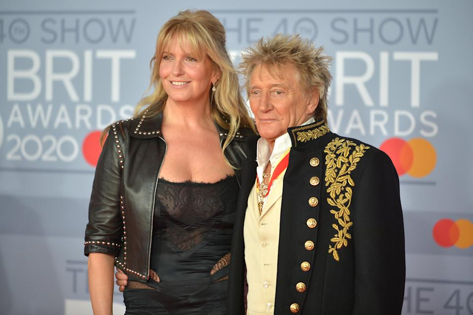LONDON, ENGLAND - FEBRUARY 18: (EDITORIAL USE ONLY) Rod Stewart and Penny Lancaster attend The BRIT Awards 2020 at The O2 Arena on February 18, 2020 in London, England. (Photo by Jim Dyson/Redferns)