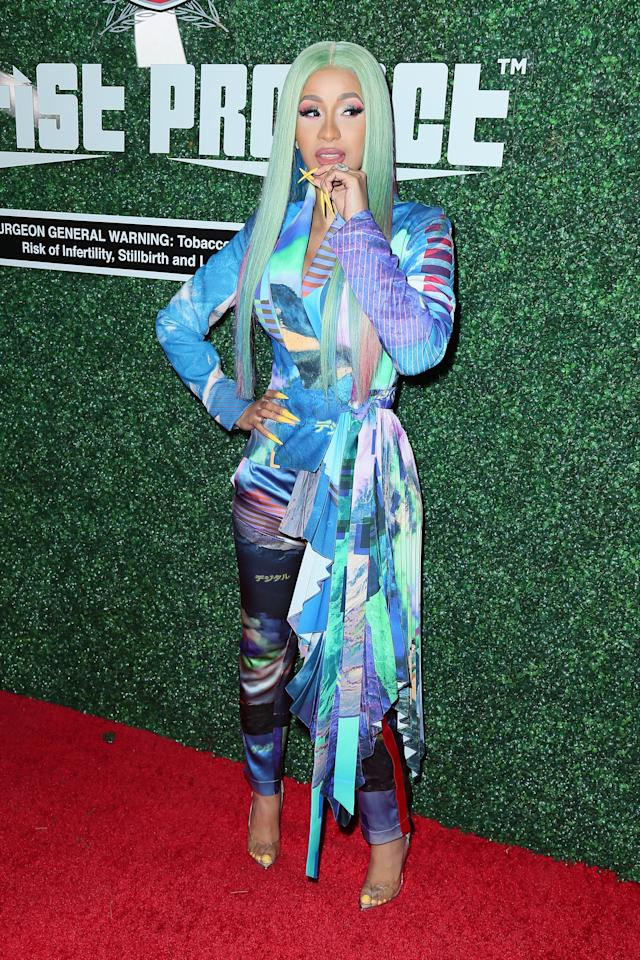 <p>At the Swisher Sweets Awards, where Cardi B was awarded with the 2019 Spark Award, she wore a multicolored Valery Kōvalska pantsuit and see-through pumps. </p>