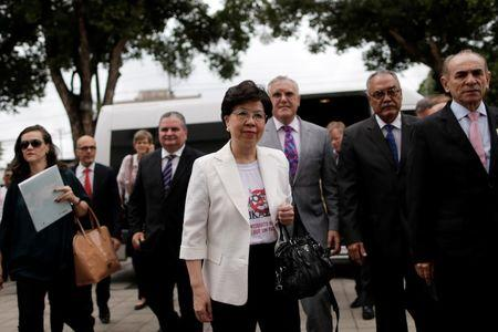 World Health Organization (WHO) Director-General Margaret Chan (C) and Brazil's Health Minister Marcelo Castro (R) arrive at the IMIP hospital in Recife, Brazil February 24, 2016. REUTERS/Ueslei Marcelino