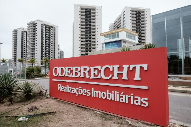 A logo of Odebrecht is seen at the Olympic and Paralympic Village in Rio de Janeiro in 2016