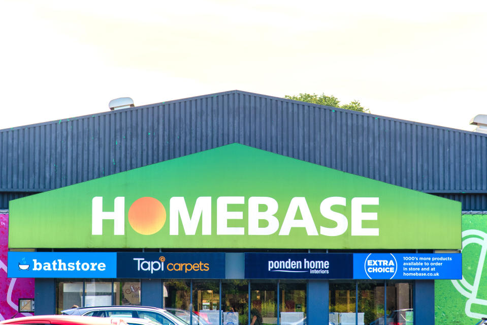 A logo on a branch of DIY store Homebase in London