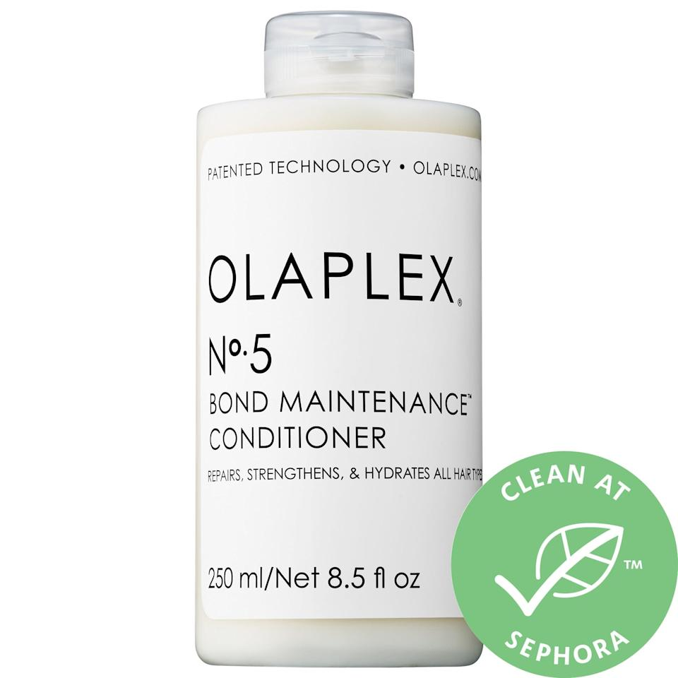 """<p><a href=""""https://www.popsugar.com/buy/Olaplex-5-Bond-Maintenance-Conditioner-578810?p_name=Olaplex%20No.%205%20Bond%20Maintenance%20Conditioner&retailer=sephora.com&pid=578810&price=14&evar1=bella%3Aus&evar9=47520410&evar98=https%3A%2F%2Fwww.popsugar.com%2Fbeauty%2Fphoto-gallery%2F47520410%2Fimage%2F47520419%2FOlaplex-No-5-Bond-Maintenance-Conditioner&list1=hair%2Csephora%2Cshampoo%2Cconditioner%2Cbeauty%20shopping%2Cstaying%20home&prop13=mobile&pdata=1"""" class=""""link rapid-noclick-resp"""" rel=""""nofollow noopener"""" target=""""_blank"""" data-ylk=""""slk:Olaplex No. 5 Bond Maintenance Conditioner"""">Olaplex No. 5 Bond Maintenance Conditioner</a> ($14-$28) deeply hydrates hair while also making it more manageable, shiny, and stronger as those broken bonds that lead to breakage are helped to mend with this product as well. </p>"""