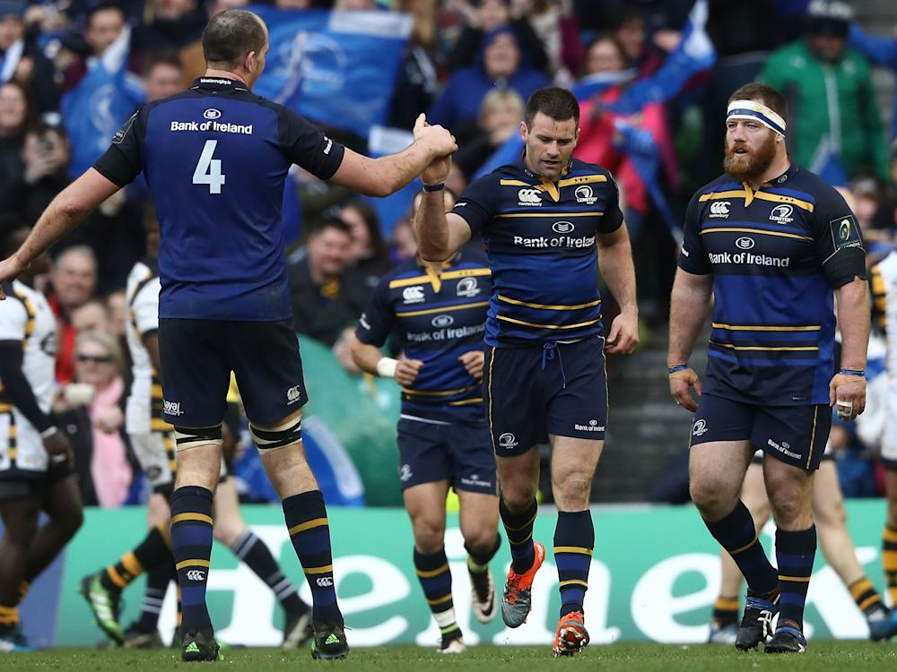 Fergus McFadden is congratulated by Devin Toner (L) after scoring for Leinster: Getty