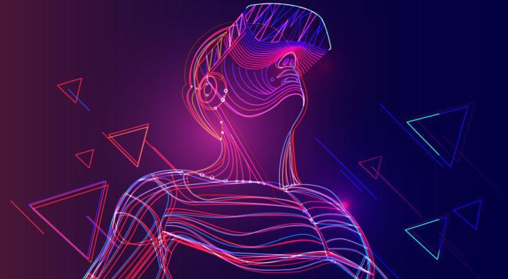 An abstract illustration of an adult wearing an AR/VR headset.