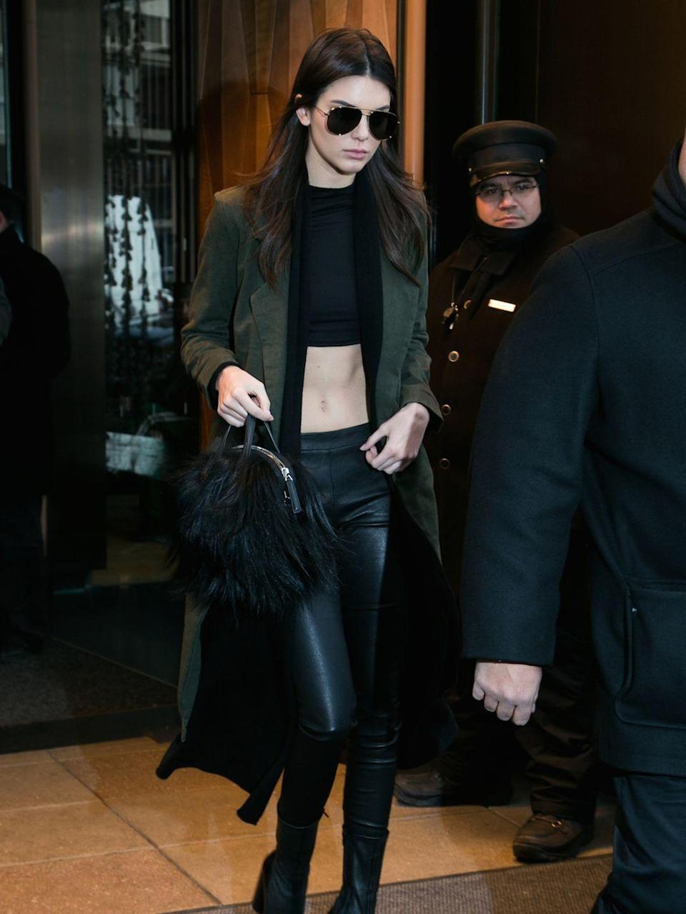 <p>Kendall Jenner during New York Fashion Week, February 2016</p>