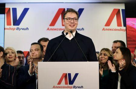 Serbian Prime Minister and presidential candidate Aleksandar Vucic speaks after his win in presidential election at his headquarters in Belgrade, Serbia, April 2, 2017. REUTERS/Antonio Bronic
