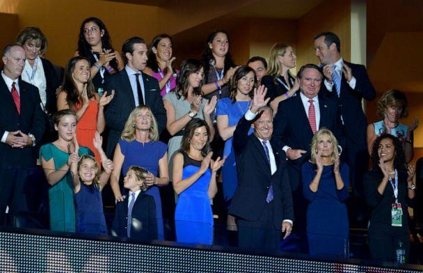 PHOTO: Vice President Joe Biden, flanked by his wife Dr. Jill Biden and family members, acknowledges the audience at the Time Warner Cable Arena in Charlotte, North Carolina, Sept. 6, 2012, on the final day of the Democratic National Convention (DNC). (Stan Honda/AFP via Getty Images, FILE)
