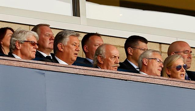 Soccer Football - Scottish Cup Final - Celtic vs Motherwell - Hampden Park, Glasgow, Britain - May 19, 2018 Celtic chief executive Peter Lawwell (2nd L) and Independent non-executive director Dermot Desmond (C) in the stand Action Images via Reuters/Jason Cairnduff