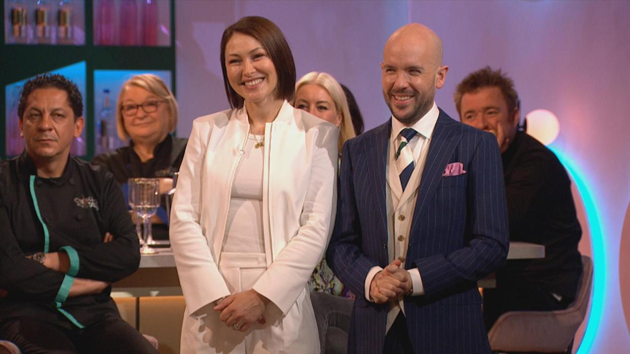 Emma Willis and Tom Allen host Cooking With The Stars. (ITV)