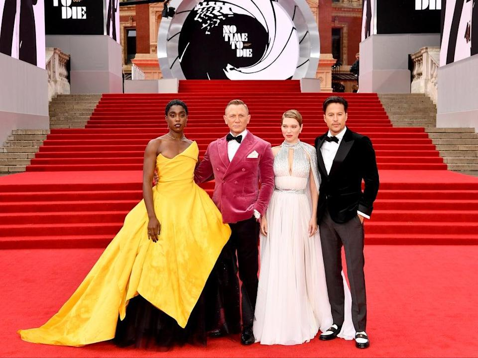Lashana Lynch, Daniel Craig, Léa Seydoux, and Cary Joji Fukunga (Jeff Spicer/Getty Images for EON Productions, Metro-Goldwyn-Mayer Studios, and Universal Pictures)