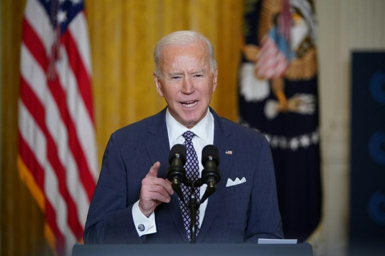 US President Joe Biden speaks virtually to the Munich Security Conference from the East Room of the White House