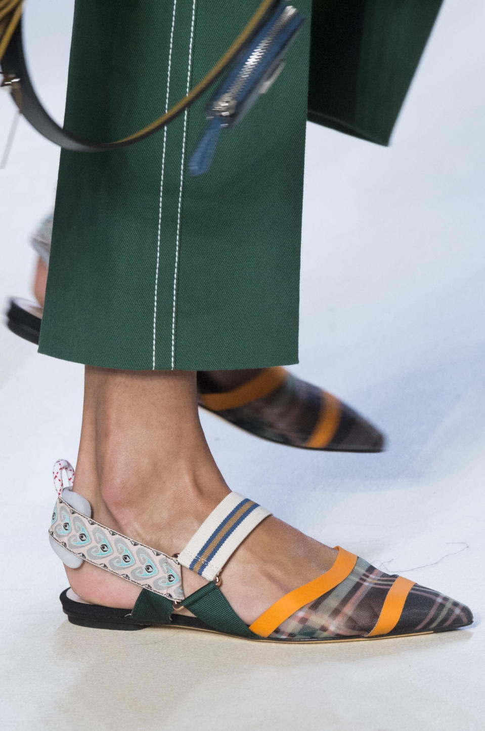 <p><i>Mixed pattern slingback flats from the SS18 Fendi collection. (Photo: ImaxTree) </i></p>