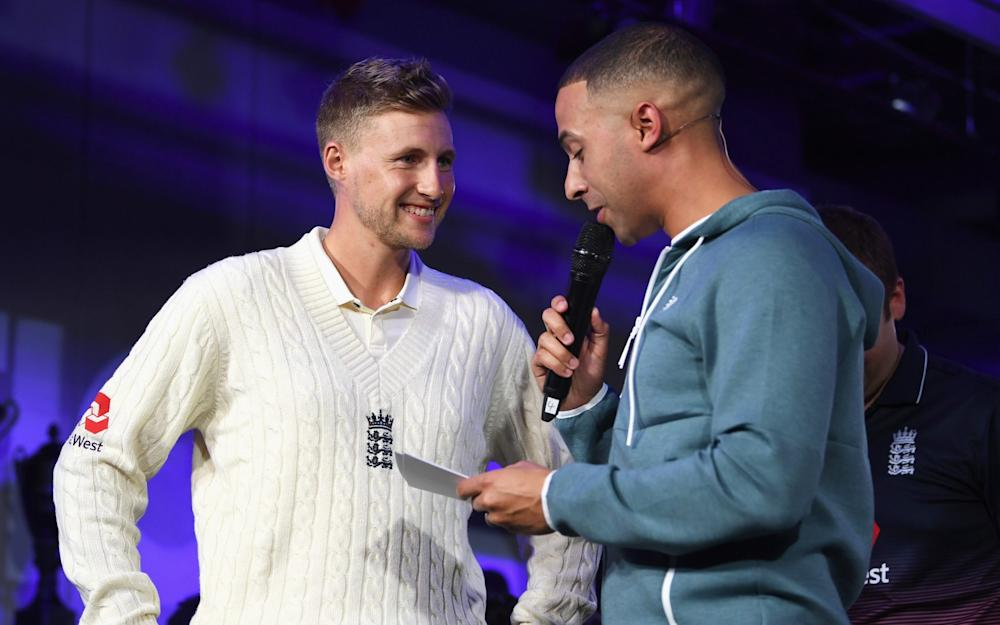LONDON, ENGLAND - MAY 02: Joe Root, England Test captain talks with TV presenter and Radio DJ Marvin Humes during the New Balance England Cricket Kit Launch at the New Balance store, Oxford Street on May 2, 2017 in London, England. (Photo by Gareth Copley/Getty Images for New Balance)  - Credit: Gareth Copley/Getty