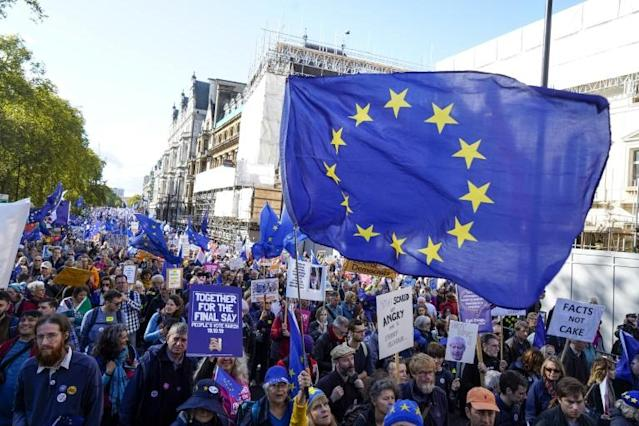 Hundreds of thousands of demonstrators joined an anti-Brexit march in central London on Saturday (AFP Photo/Niklas HALLE'N)