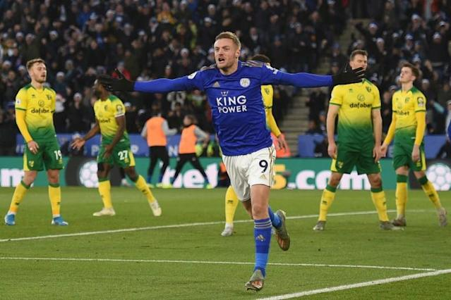 Jamie Vardy's scoring streak came to an end as Norwich held Leicester 1-1 (AFP Photo/Oli SCARFF )