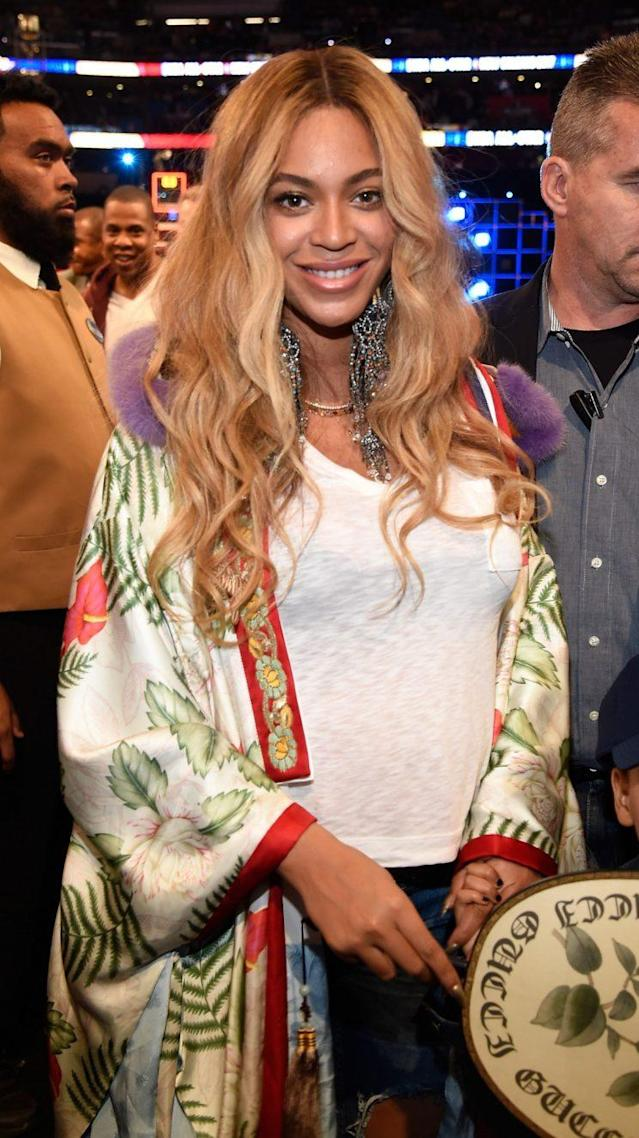 Beyoncé at the NBA All-Star Game. (Photo: Getty)