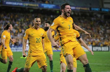Football Soccer - Australia vs United Arab Emirates - 2018 World Cup Qualifying Asian Zone - Group B - Sydney Football Stadium, Sydney, Australia - 28/3/17 - Australia's Mathew Leckie celebrates his goal against UAE.  REUTERS/Steven Saphore