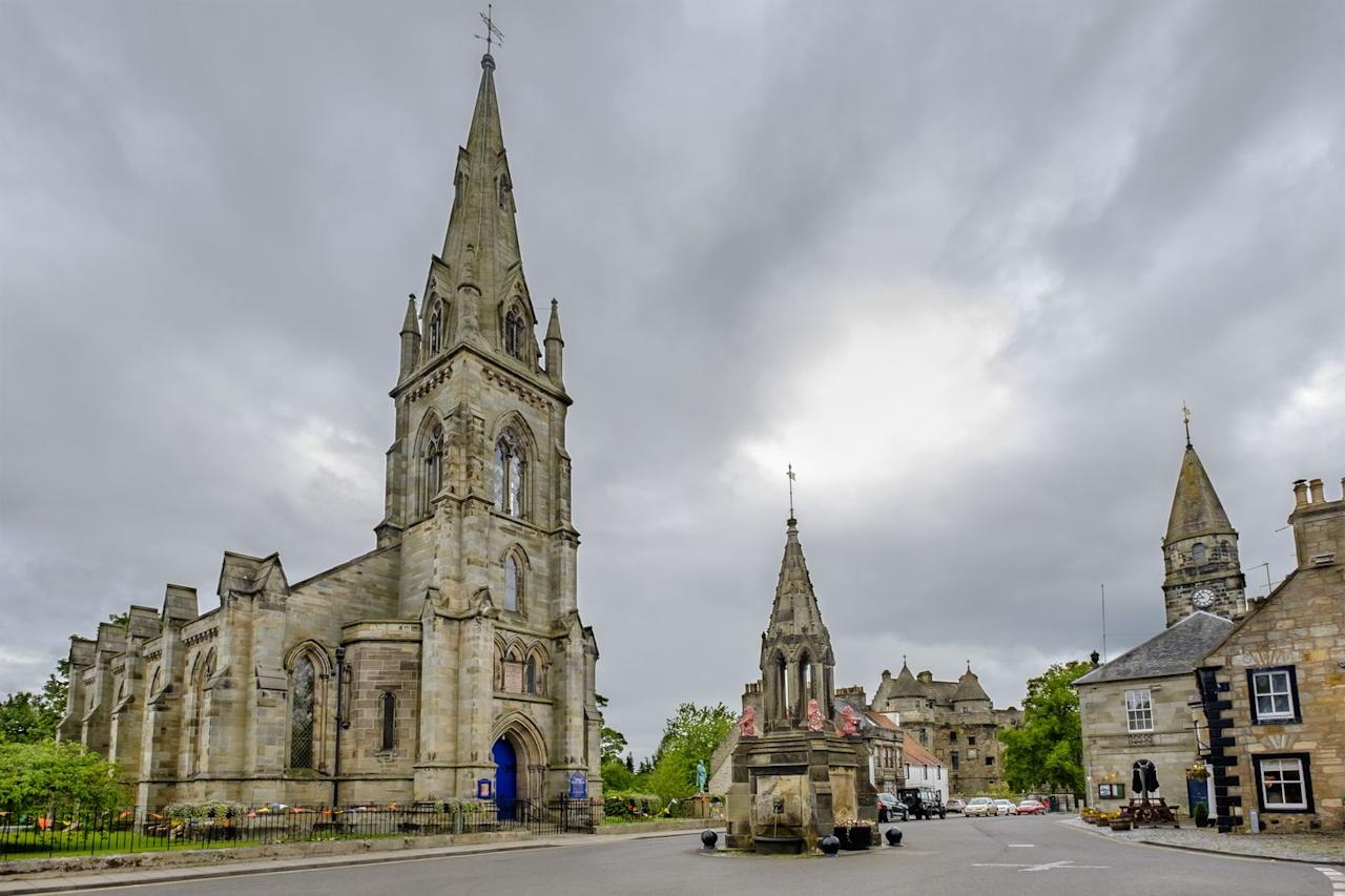 """<p><strong>You'll Recognize It As: </strong>Inverness</p><p>While Claire's story begins in 1940s Inverness, those scenes were shot in the village of Falkland, just an hour's drive north of Edinburgh. You can actually stay at the guesthouse featured in the show—called <a href=""""https://go.redirectingat.com/?id=74968X1525087&xs=1&url=https%3A%2F%2Fwww.tripadvisor.com%2FHotel_Review-g551747-d2637525-Reviews-The_Covenanter_Hotel-Falkland_Fife_Scotland.html&sref=https%3A%2F%2Fwww.townandcountrymag.com%2Fleisure%2Ftravel-guide%2Fg12224285%2Fwhere-to-visit-outlander-filming-locations%2F"""" target=""""_blank"""">the Covenanter Hotel</a> in real life—which looks out onto the Bruce Fountain where Jamie's ghost is first seen. If you visit, Davis recommends going to <a href=""""http://campbellscoffeehouse.com/"""" target=""""_blank"""">Campbell's Coffee House</a> for a """"mean toastie on a cold Scottish morning!""""</p>"""