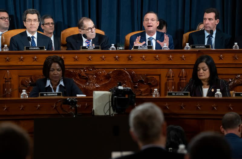 Ranking member Rep. Doug Collins (R-GA) speaks alongside House Judiciary Committee Chairman Jerrold Nadler (D-NY) during a House Judiciary Committee hearing on the impeachment Inquiry into U.S. President Donald Trump on Capitol Hill
