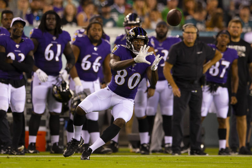 PHILADELPHIA, PA - AUGUST 22: Miles Boykin #80 of the Baltimore Ravens catches a pass against the Philadelphia Eagles in the preseason game at Lincoln Financial Field on August 22, 2019 in Philadelphia, Pennsylvania. (Photo by Mitchell Leff/Getty Images)