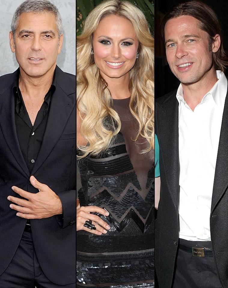 """The <i>National Enquirer</i> reveals that Stacy Keibler is dating George Clooney, but only because she has her sights set on his buddy Brad Pitt. The magazine says Keibler has even told friends, """"Brad and Angelina won't last forever. One day I'll get my shot with Brad."""" For how Keibler plans to nab Pitt, and how Clooney surprisingly reacted when he discovered her plot, click over to <a href=""""http://www.gossipcop.com/stacy-keibler-wants-brad-pitt-dating-george-clooney/"""" target=""""new"""">Gossip Cop</a>. Venturelli/Todd Oren/Todd Williamson/WireImage.com"""