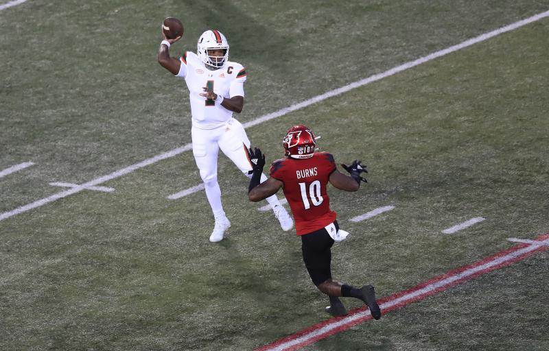 Miami QB D'Eriq King put on a show during Saturday's victory over Lousville. (Andy Lyons/Getty Images)