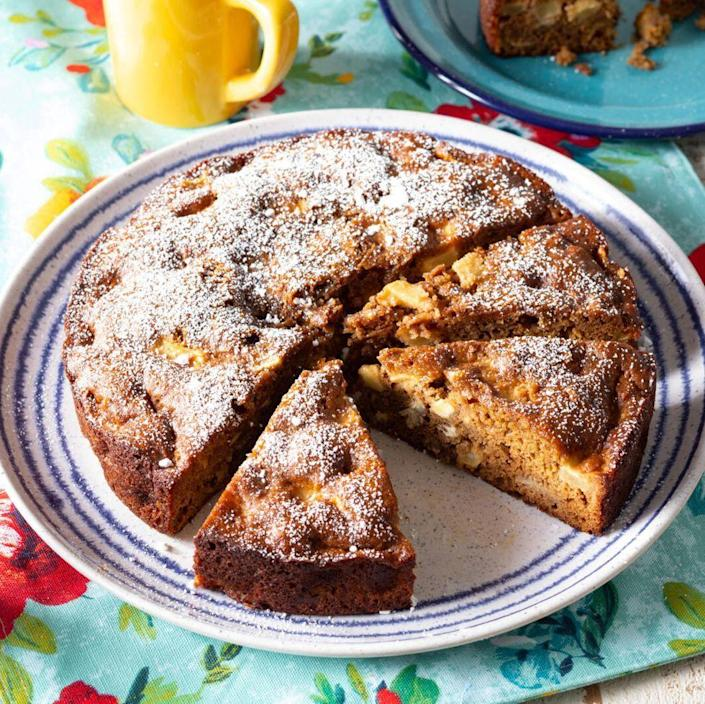 """<p>This tender, moist apple cake uses both apple butter and fresh apples, so it's full of apple flavor. Best of all? It all comes together in one bowl! </p><p><a href=""""https://www.thepioneerwoman.com/food-cooking/recipes/a36981696/apple-cake-recipe/"""" rel=""""nofollow noopener"""" target=""""_blank"""" data-ylk=""""slk:Get the recipe."""" class=""""link rapid-noclick-resp""""><strong>Get the recipe.</strong></a></p>"""