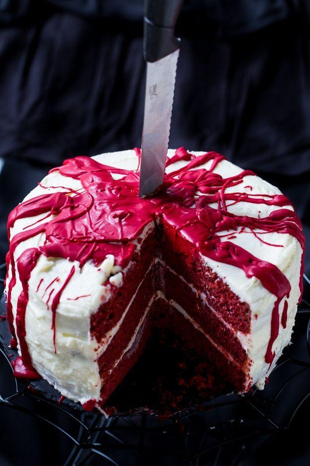 "<p>Served knife in, of course.</p><p>Get the recipe from <a href=""https://spicysouthernkitchen.com/bloody-red-velvet-cake/"" rel=""nofollow noopener"" target=""_blank"" data-ylk=""slk:Spicy Southern Kitchen"" class=""link rapid-noclick-resp"">Spicy Southern Kitchen</a>.</p>"