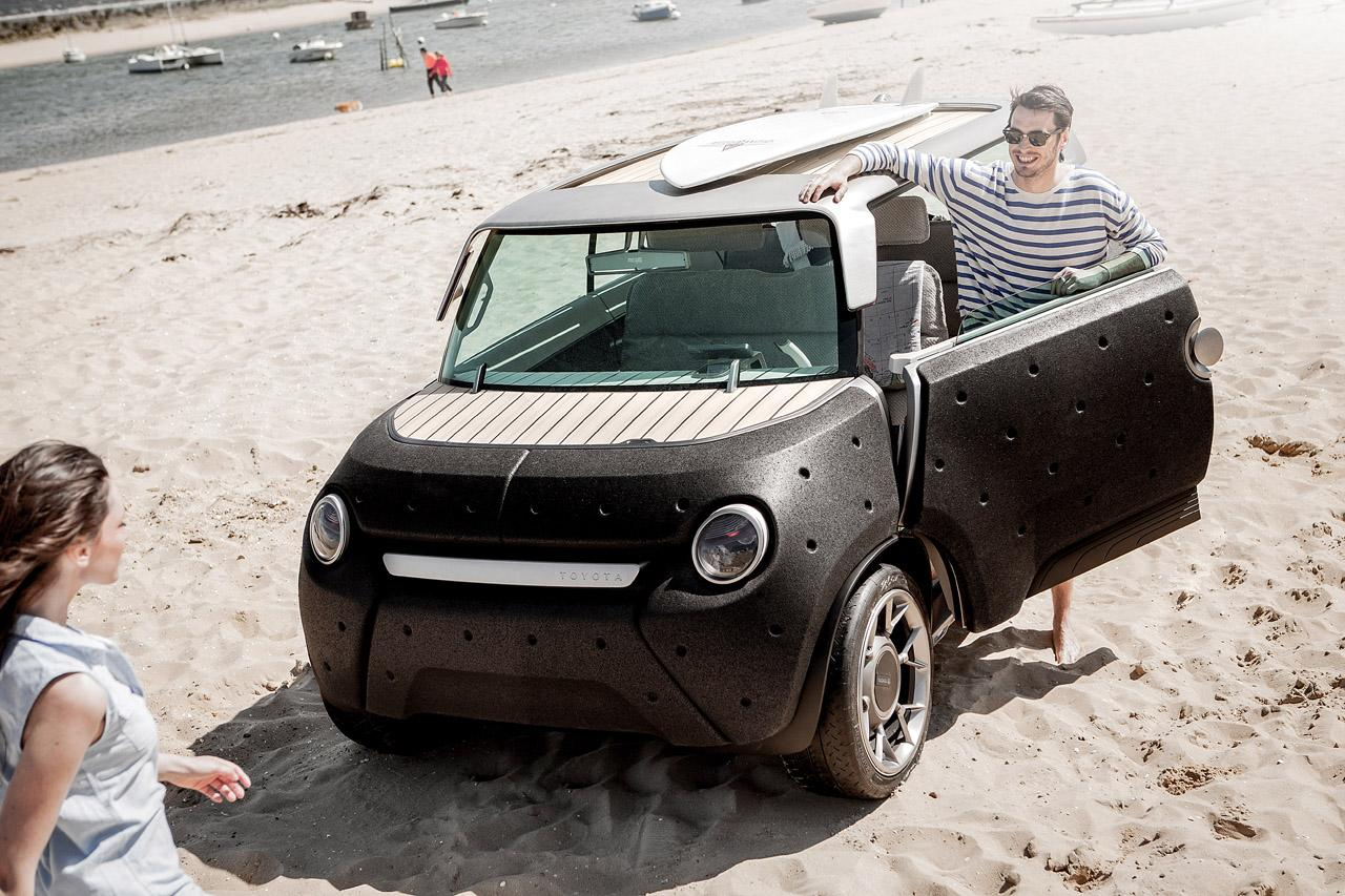 From that point, Toyota and Massaud designed an aluminium minicar frame with wildly adaptable shapes; it can transform into a pickup or convertible, and all of its windows, including the windshield, can be lowered for air flow.