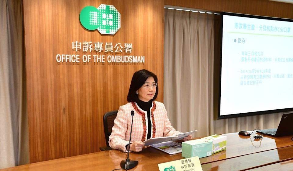 Ombudsman Winnie Chiu highlighted a lack of consistency in government departments when it came to disposing of old masks. Photo: Handout