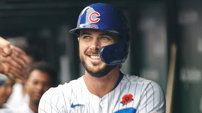 May 31, 2021; Chicago, Illinois, USA; Chicago Cubs third baseman Kris Bryant (17) smiles after hitting a two-run home run against the San Diego Padres during the fifth inning at Wrigley Field.