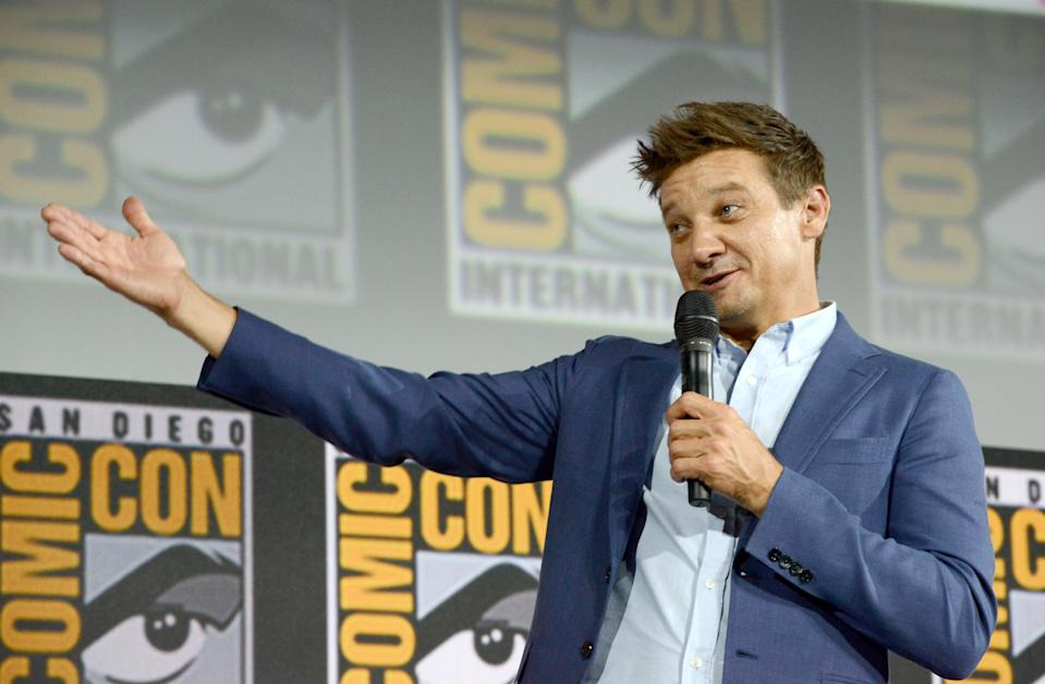 SAN DIEGO, CALIFORNIA - JULY 20: Jeremy Renner speaks at the Marvel Studios Panel during 2019 Comic-Con International at San Diego Convention Center on July 20, 2019 in San Diego, California. (Photo by Albert L. Ortega/Getty Images)